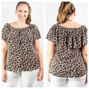 Plus Cheetah Print Top